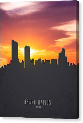 Grand Rapids Michigan Sunset Skyline 01 Canvas Print by Aged Pixel