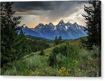 Canvas Print featuring the photograph Grand Stormy Sunset by David Chandler