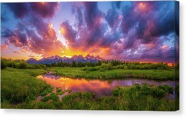 Grand Sunset In The Tetons Canvas Print by Darren White