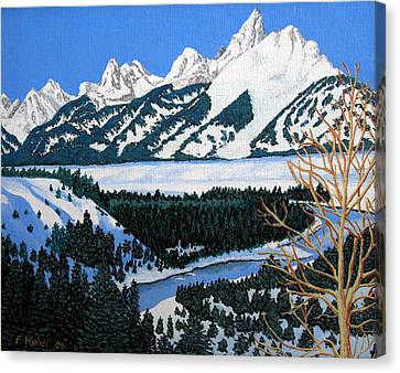 Canvas Print featuring the painting Grand Teton by Frederic Kohli