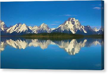 Grand Teton Reflection Wood Texture Canvas Print