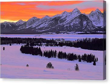 Grand Teton Winter Sunset Canvas Print by Stephen  Vecchiotti