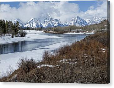 Grand Tetons From Oxbow Bend Canvas Print by Belinda Greb