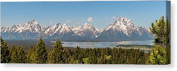 Grand Tetons Over Jackson Lake Panorama Canvas Print by Brian Harig