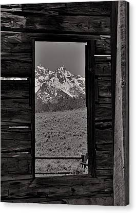 Grand Tetons Through The Window Canvas Print