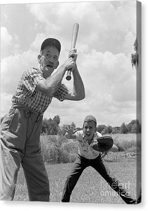 Grandfather At Bat With Boy As Catcher Canvas Print by Debrocke/ClassicStock