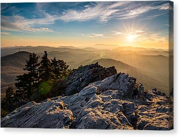 Sunburst Canvas Print - Grandfather Mountain Sunset Blue Ridge Parkway Western Nc by Dave Allen