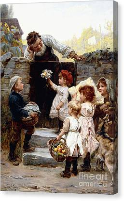 Old Grandfather Time Canvas Print - Grandfather's Birthday by Frederick Morgan