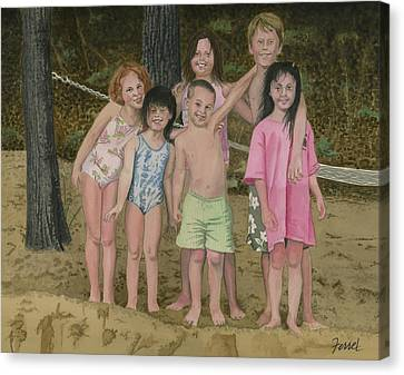 Canvas Print featuring the painting Grandkids On The Beach by Ferrel Cordle