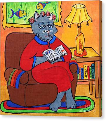 Grandma Beatrice Reads A Book Canvas Print