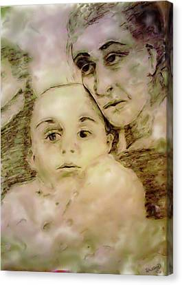 Canvas Print featuring the drawing Grandmas Baby by Shelley Bain