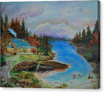 Canvas Print featuring the painting Grandmas Cabin by Leslie Allen