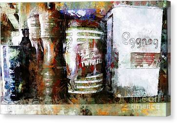 Canvas Print featuring the photograph Grandma's Kitchen Tins by Claire Bull