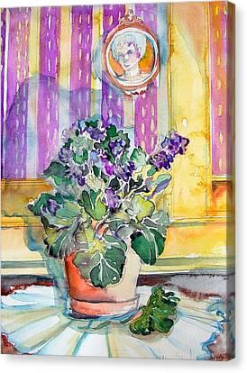 Grandmas' Violets Canvas Print by Mindy Newman