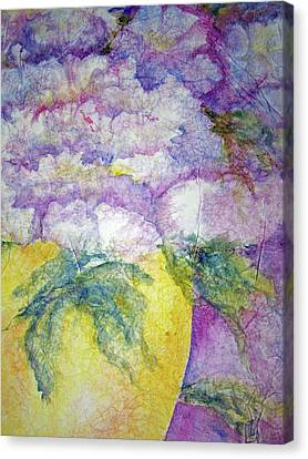 Canvas Print featuring the painting Grandma's Yellow Vase by Sandy Collier