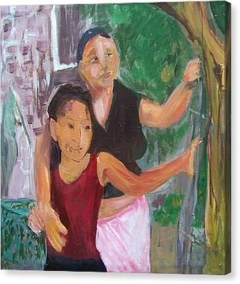 Grandmother And Grand-daughter In  Honduras Canvas Print by Ellen Seymour