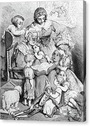 Grandmother Telling A Story To Her Grandchildren Canvas Print by Gustave Dore