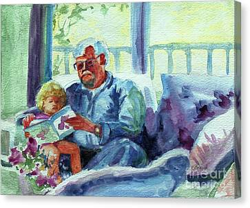 Canvas Print featuring the painting Grandpa Reading by Kathy Braud