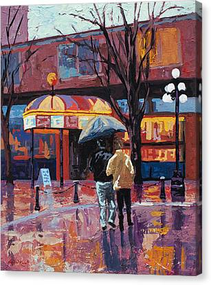 Rainy Day Canvas Print - Grandville Couple by Marion Rose