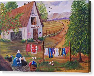 Granny And Her Laundry Canvas Print by Janna Columbus
