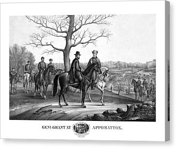 Canvas Print featuring the mixed media Grant And Lee At Appomattox by War Is Hell Store