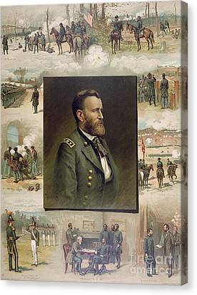 Grant From West Point To Appomattox Canvas Print by Thure de Thulstrup