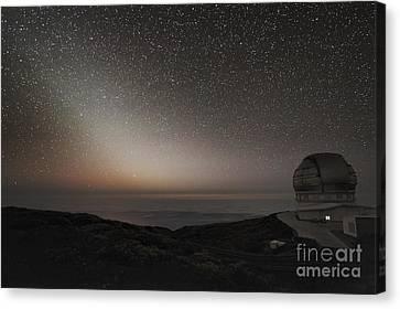 Grantecan Telescope And Zodiacal Light Canvas Print by Alex Cherney, Terrastro