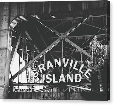 British Columbia Canvas Print - Granville Island Bridge Black And White- By Linda Woods by Linda Woods