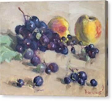 Grape And Peach Canvas Print by Ylli Haruni