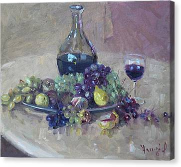 Glass Of Wine Canvas Print - Grape And Wine by Ylli Haruni