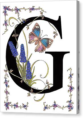 Blue Grapes Canvas Print - Grape Hyacinth And Genoveva Azure Butterfly by Stanza Widen