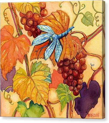 Grapes And Dragonfly Canvas Print by Peggy Wilson