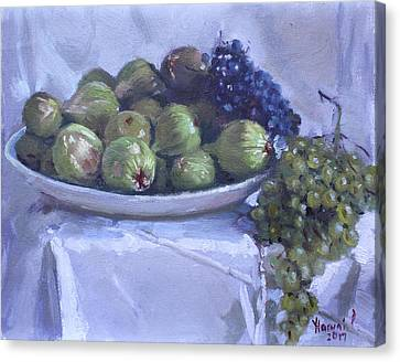 Fig Canvas Print - Grapes And Figs At Lida's by Ylli Haruni