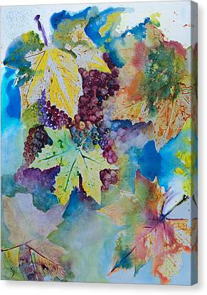 Grapes And Leaves Canvas Print by Karen Fleschler