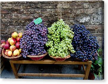 Grapes And Nectarines On A Bench Canvas Print by Todd Gipstein