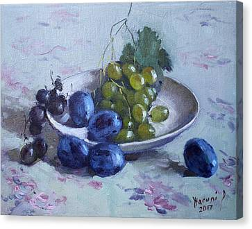 White Grape Canvas Print - Grapes And Plums by Ylli Haruni