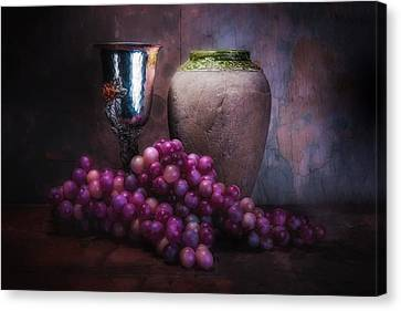 Grapes And Silver Goblet Canvas Print by Tom Mc Nemar