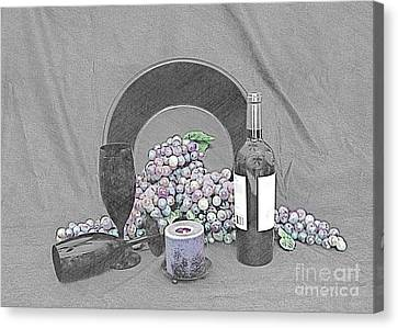 Grapes And Wine Canvas Print by Sherry Hallemeier