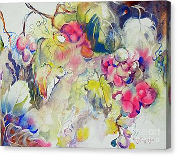 Canvas Print featuring the painting Grapes In Season by Mary Haley-Rocks