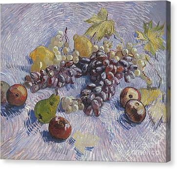 Grapes, Lemons, Pears, And Apples Canvas Print
