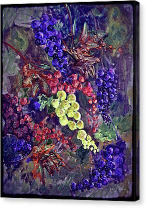 Malbec Canvas Print - Grapes On The Vine Art 2 by Ken Figurski