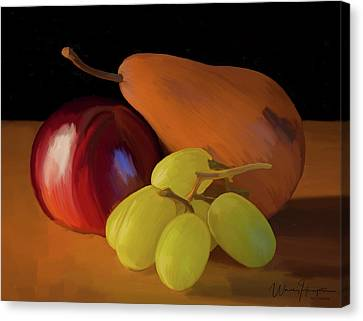 Grapes Plum And Pear 01 Canvas Print by Wally Hampton