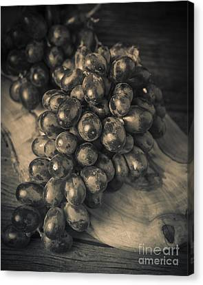 Grapes Still Life With Olive Board Canvas Print by Edward Fielding