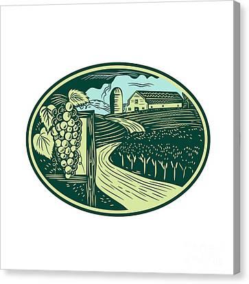 Grapes Vineyard Winery Oval Woodcut Canvas Print