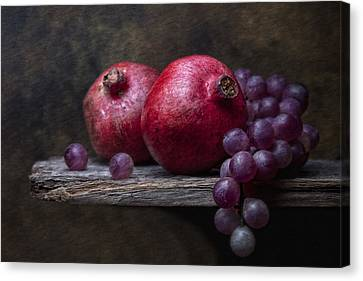 Grapes With Pomegranates Canvas Print