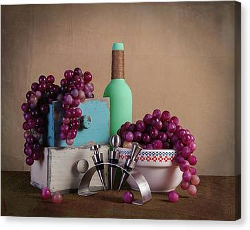 Wine Glasses Canvas Print - Grapes With Wine Stoppers by Tom Mc Nemar