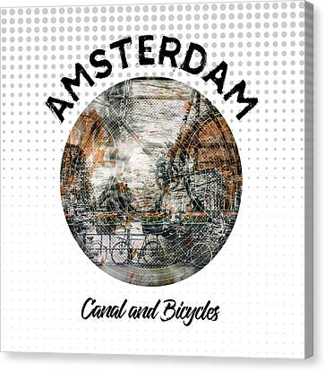 Graphic Art Amsterdam Canal And Bicycles Canvas Print by Melanie Viola