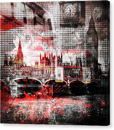 Graphic Art London Red Bus Composing Canvas Print by Melanie Viola