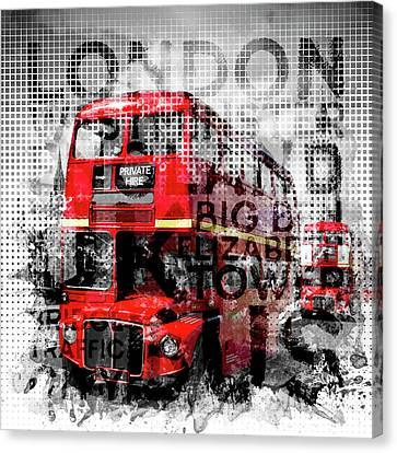 Graphic Art London Westminster Buses - Typography Canvas Print by Melanie Viola