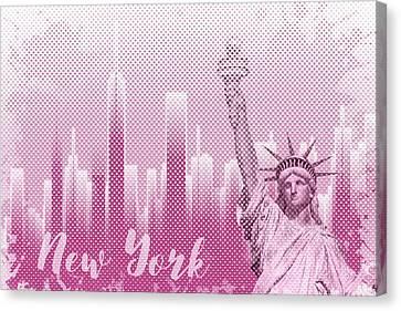 Times Square Canvas Print - Graphic Art New York Mix No 1 - Pink - Splashes by Melanie Viola